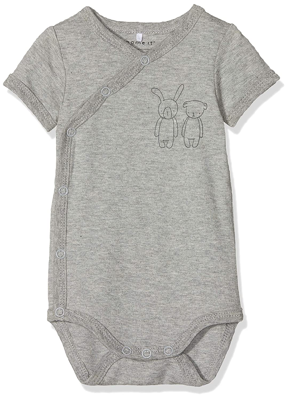 NAME IT Unisex Baby Strampler Nbnbody Wrap Ls Grey Mel Noos