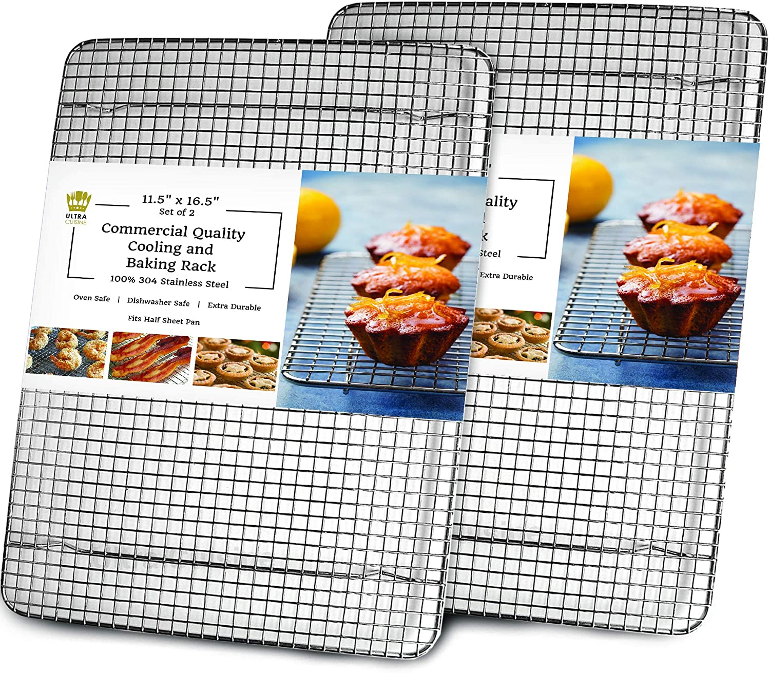 "Cooling, Baking & Roasting Wire Racks for Sheet Pans - 100% Stainless Steel Metal Racks for Cooking - Dishwasher Safe, Rust Resistant, Heavy Duty (11.5"" x 16.5"" - Set of 2)"
