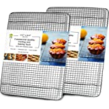 """Cooling, Baking & Roasting Wire Racks for Sheet Pans - 100% Stainless Steel Metal Racks for Cooking - Dishwasher Safe, Rust Resistant, Heavy Duty (11.5"""" x 16.5"""" - Set of 2)"""