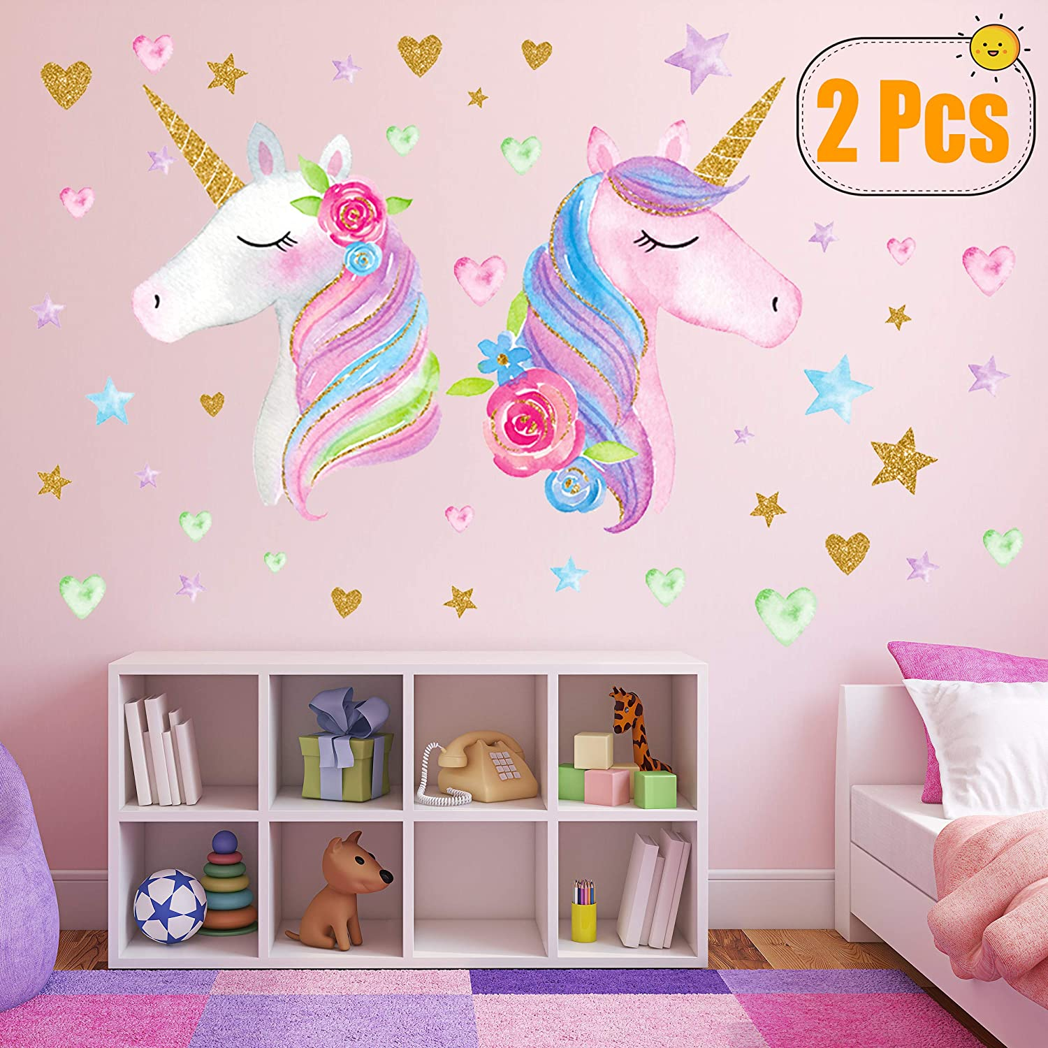 2 Sheets Large Size Unicorn Wall Decor,Removable Unicorn Wall Decals Stickers Decor für Gilrs Kids Bedroom Nursery Birthday Party Favor(Neasyth Store 9.99 $) (2 Pcs)