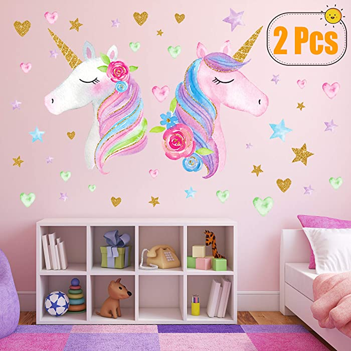 2 Sheets Large Size Unicorn Wall Decor,Removable Unicorn Wall Decals Stickers Decor for Gilrs Kids Bedroom Nursery Birthday Party Favor(Neasyth Store 9.99 $) (2 PCS)