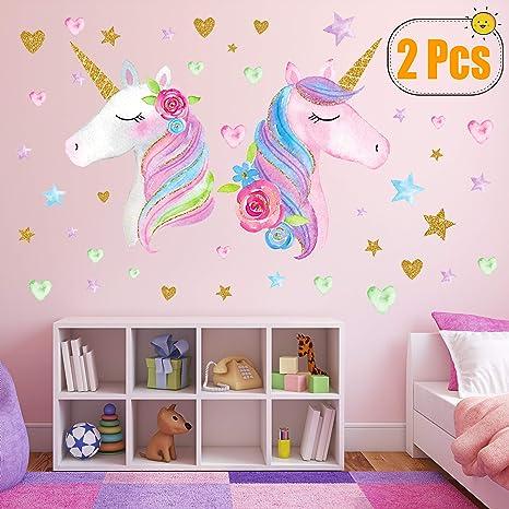 Amazon.com: Pegatinas de pared de unicornio, paquete de 4 ...
