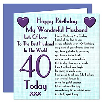 Husband 40th Happy Birthday Card