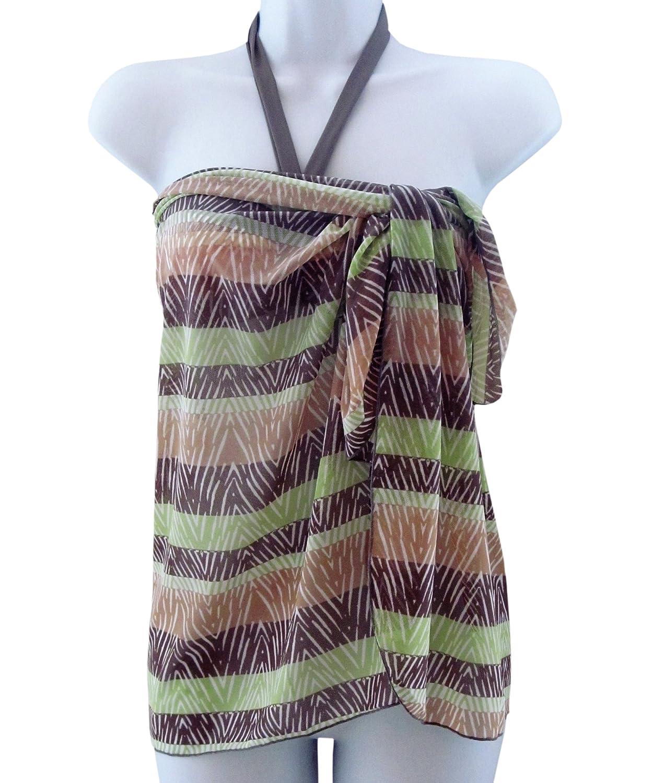Moontide Tribal Stripe Mesh Wrap - Mocha - One Size