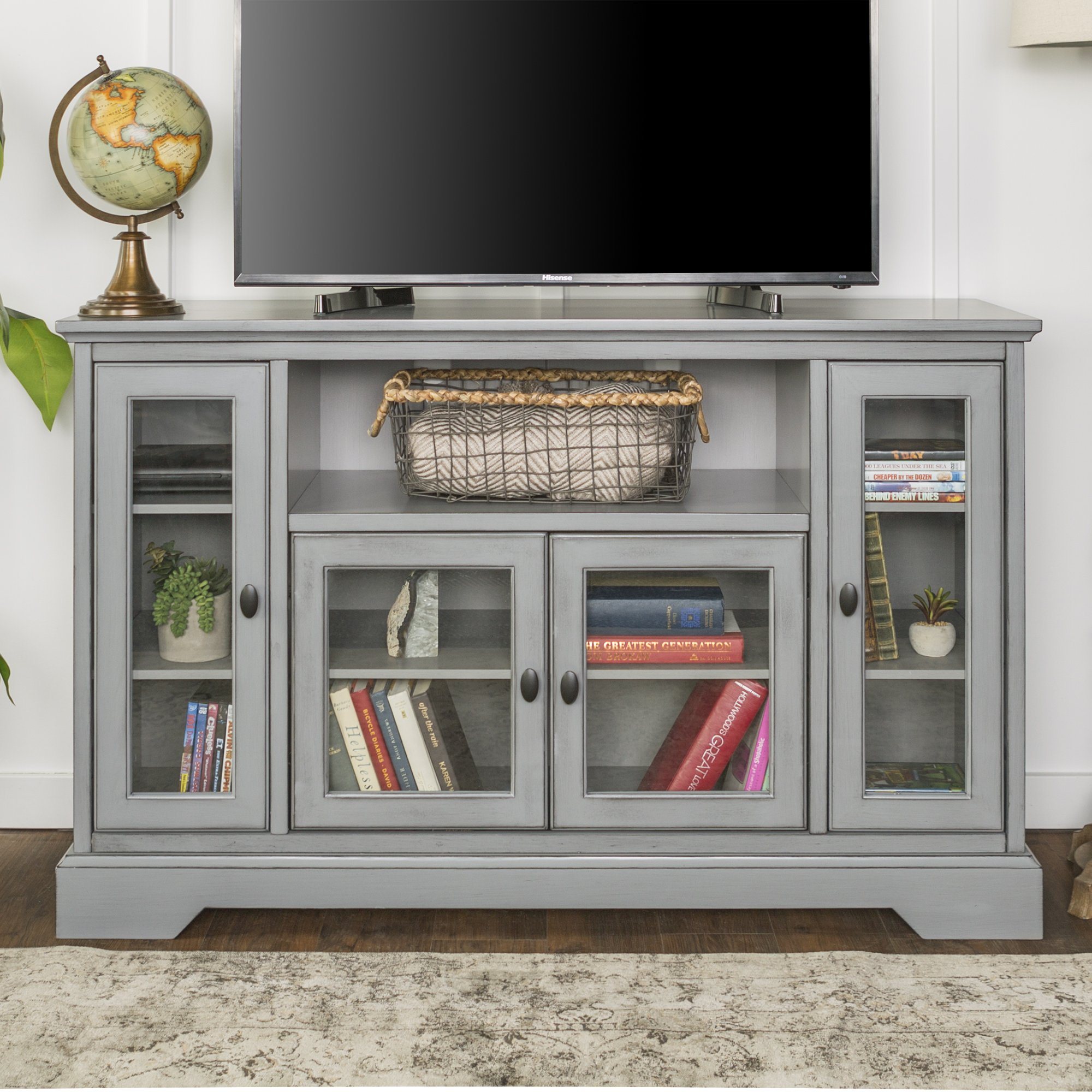 New 52 Inch Wide Highboy Television Stand in Antiqued Grey Finish