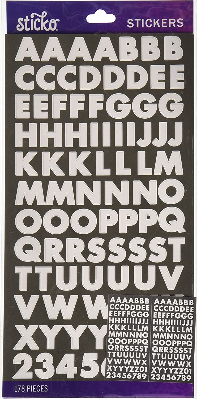 Sticko Alphabet Futura Bold Stickers, Small, White
