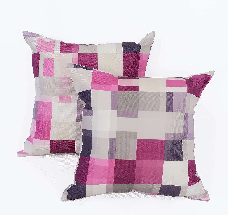 "LJ Home Fashions 442 Mada Color Block Geometric Print Square Cushions (Set of 2) 17"" W x 17"" L, Silver/Grey/Purple/Hot Pink"