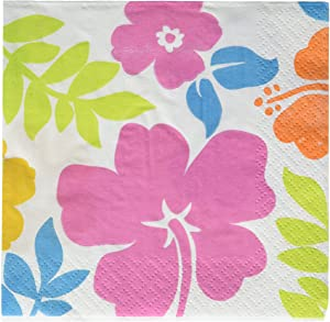 amscan Party Napkins, Hibiscus Beverage Napkins, Party Supplies, Multicolor, One Size, 100ct
