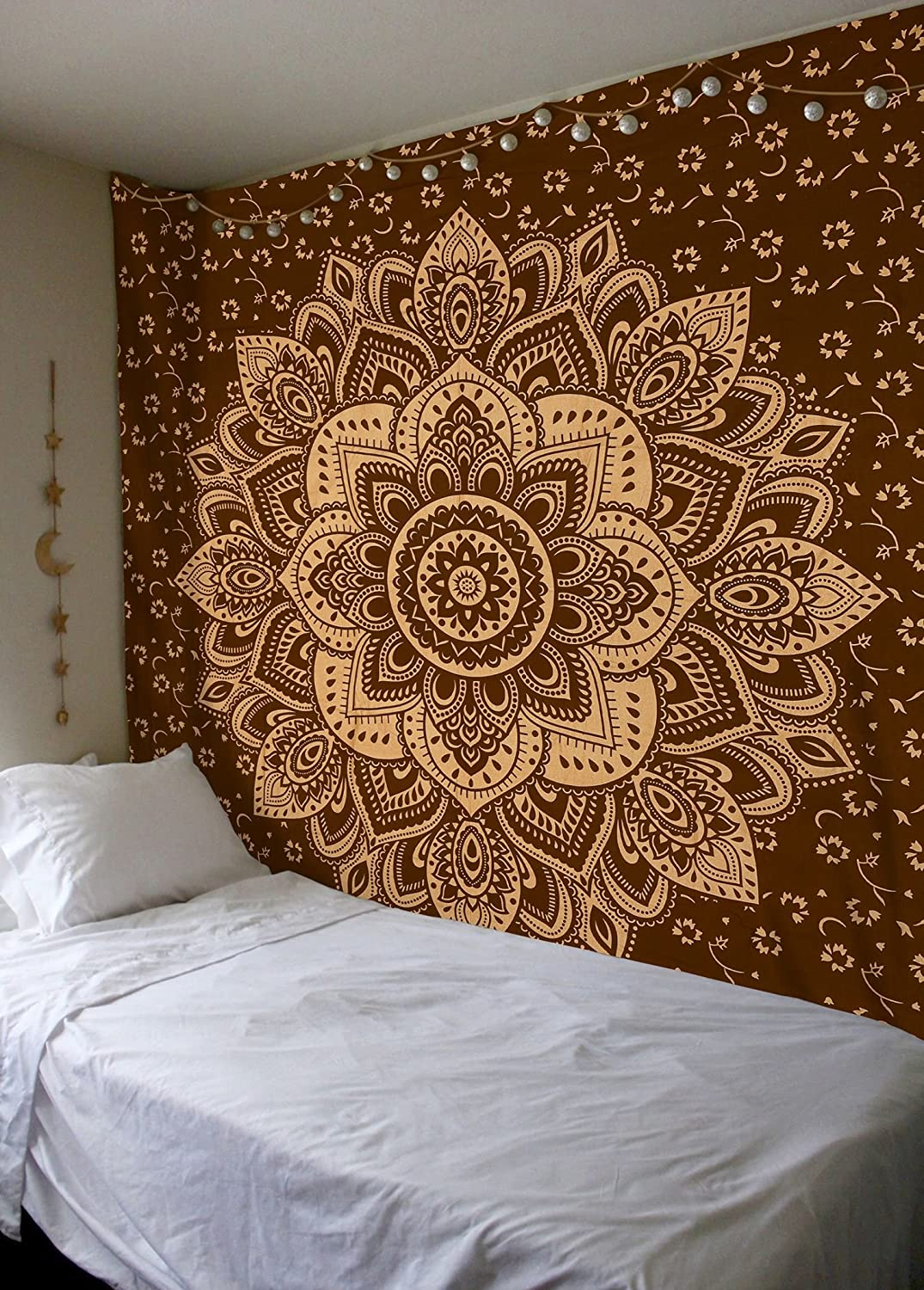 Madhu International Mandala Tapestry Psychedelic Floral Medallion Hippie Queen Tapestries Bohemian Wall Hanging Indian Traditional Design For Living Room Dorm Home Decor 84x90 Inches, Brown Gold