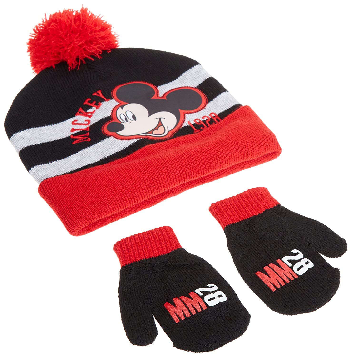 Disney Boys' Mickey Mouse Beanie Hat and Gloves Set black red grey One Size