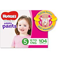 Huggies Ultra Dry Nappy Pants, Girls, Size 5 Walker (12-17kg), 104 Count