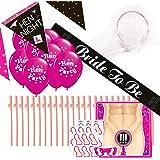 Kit complet de Célébration Enterrement Hen Party: mariée à être Veil écharpe +, Hen Party Bannières + ballons, 20Pailles Willy