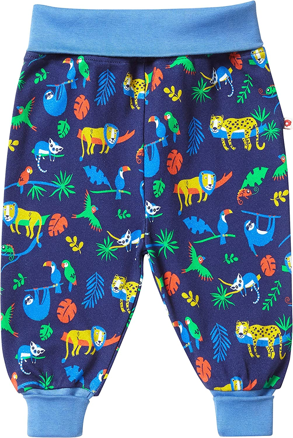 Piccalilly Baby Pull Up Trouser Pants Organic Jersey Roll Top Boys Animal