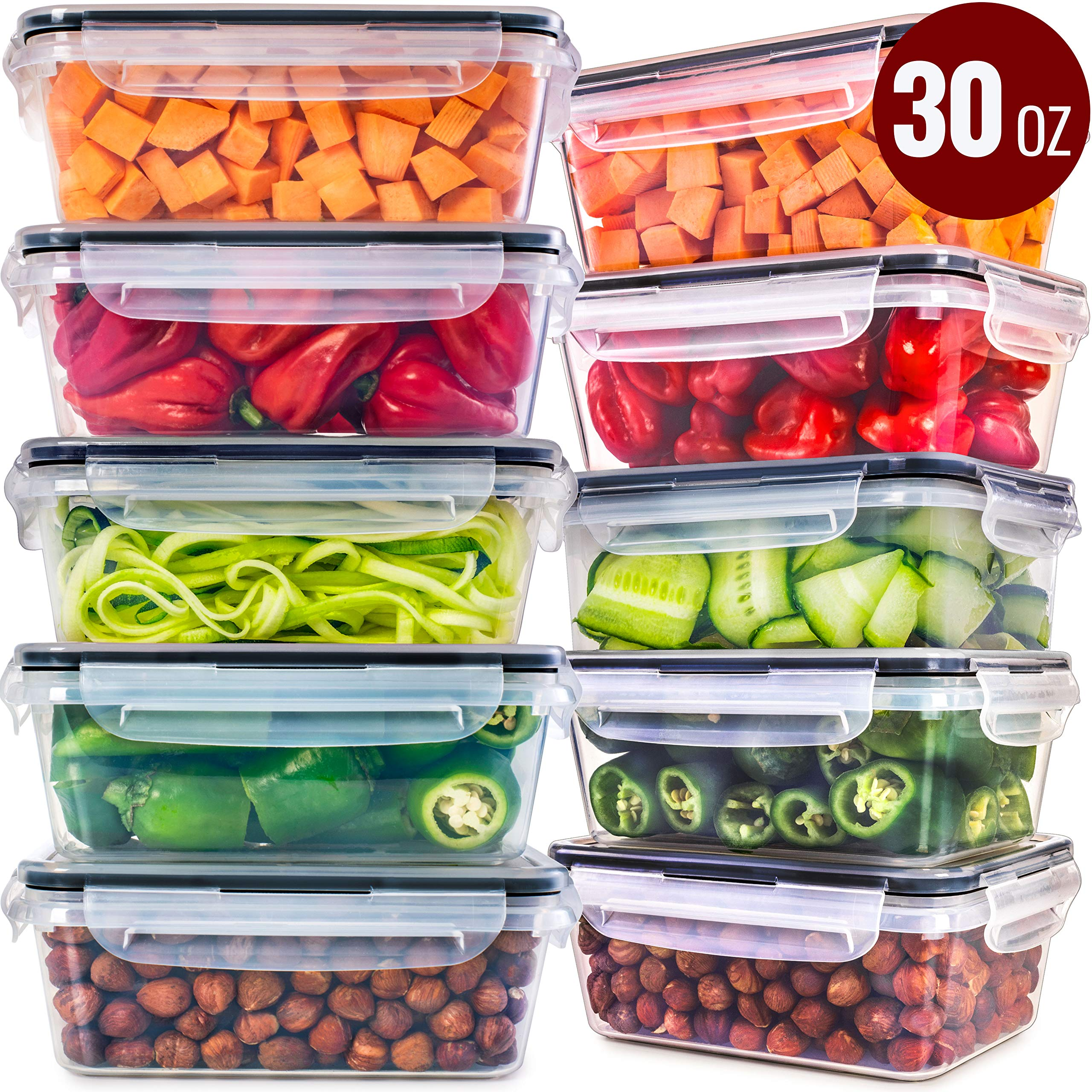 Food Storage Containers with Lids [10 Pack, 30 Ounce] - Food Containers with Lids Plastic Containers with Lids - Leak Proof Lunch Containers Plastic Storage Containers with Lids Meal Prep Containers by Fullstar