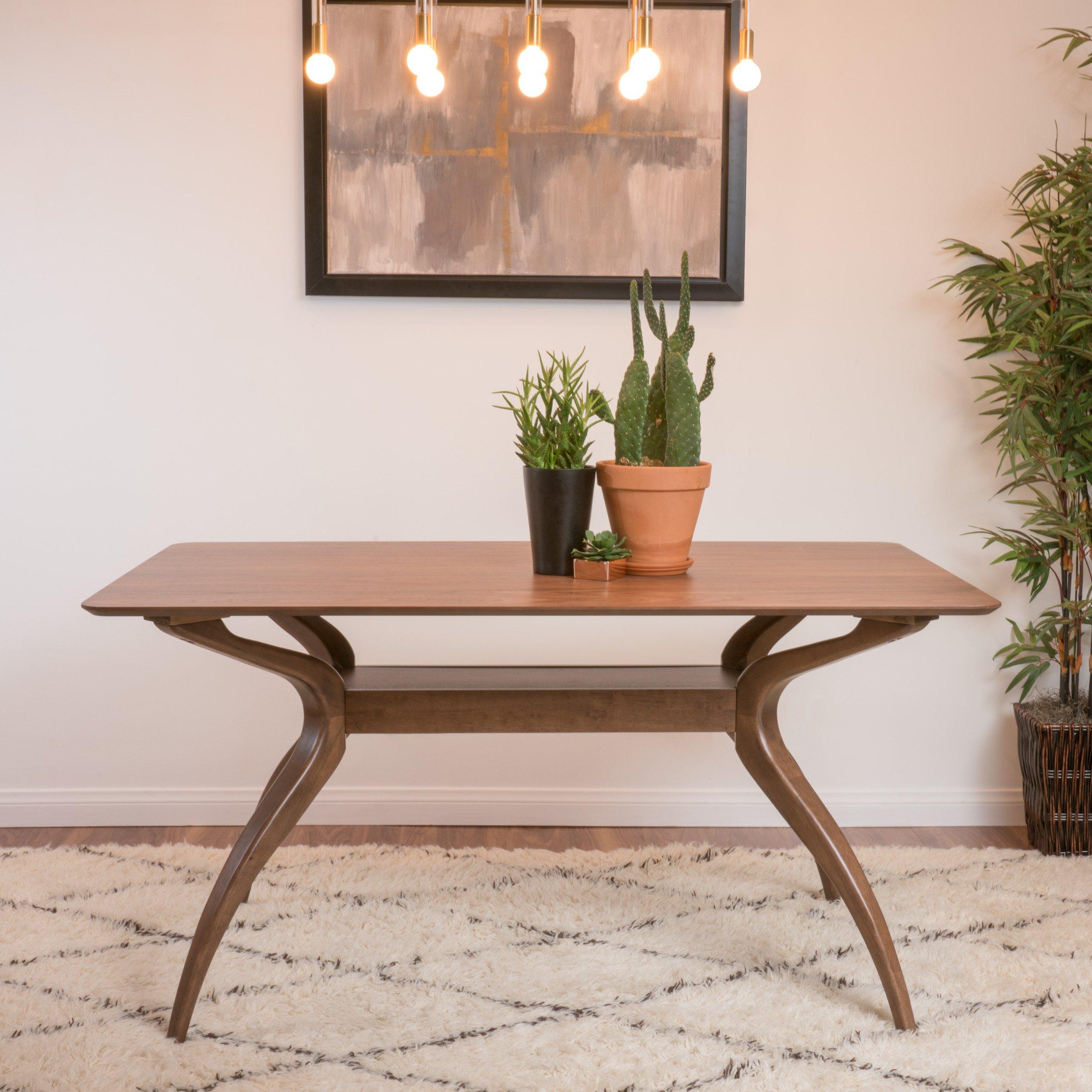 Mabel Natural Walnut Finish Wood Mid Century Modern Dining