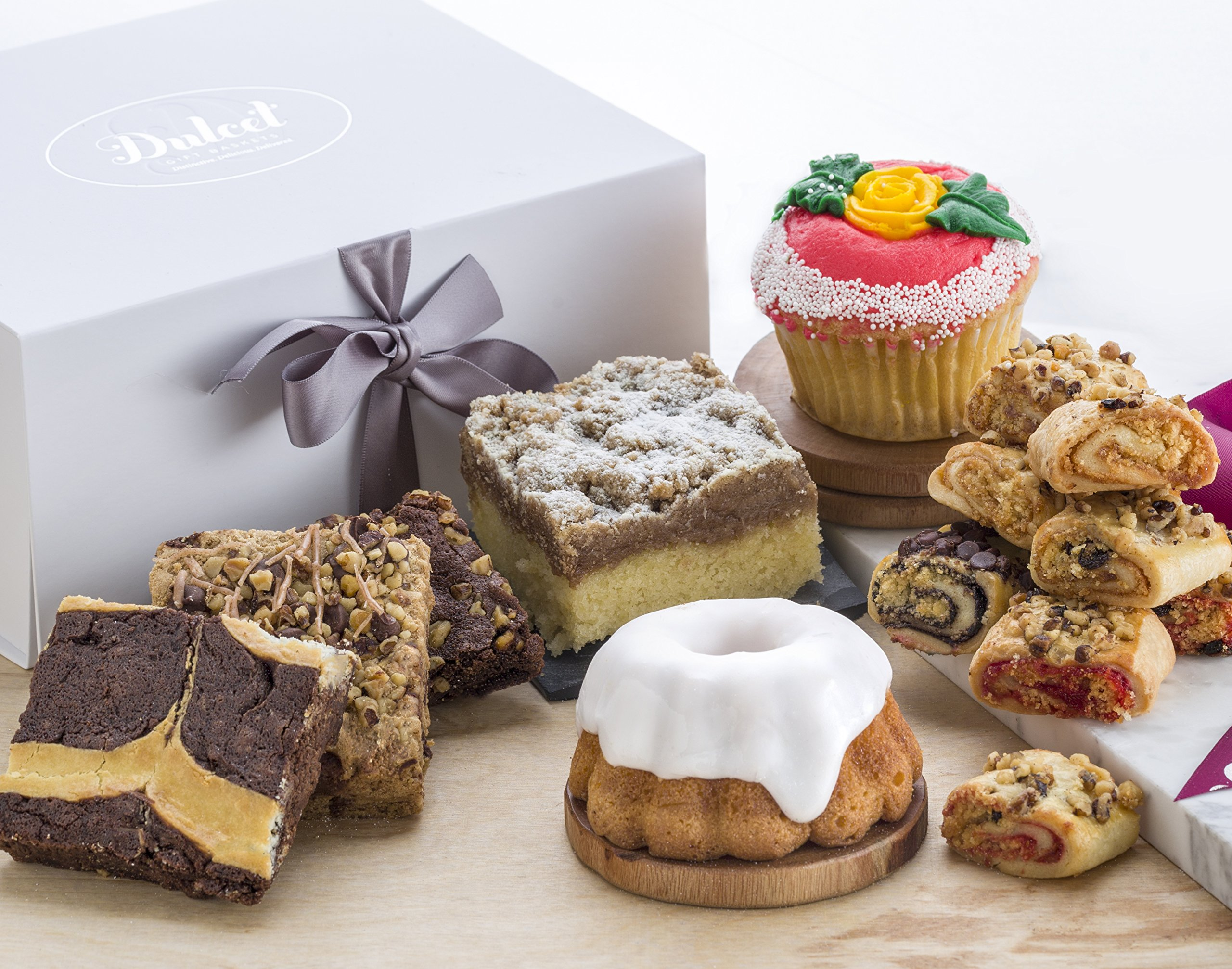 Dulcet's Elegant Gift Box Filled with an Assortment of Delectable Pastries. Charmingly Packaged and Tied With a Ribbon. Ideal Wedding & Anniversary Gift, or for any Special Occasion. by Dulcet Gift Baskets