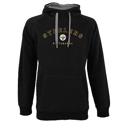 763746ef9 Antigua Pittsburgh Steelers Men s Black Victory Pullover Hooded Sweatshirt  Small