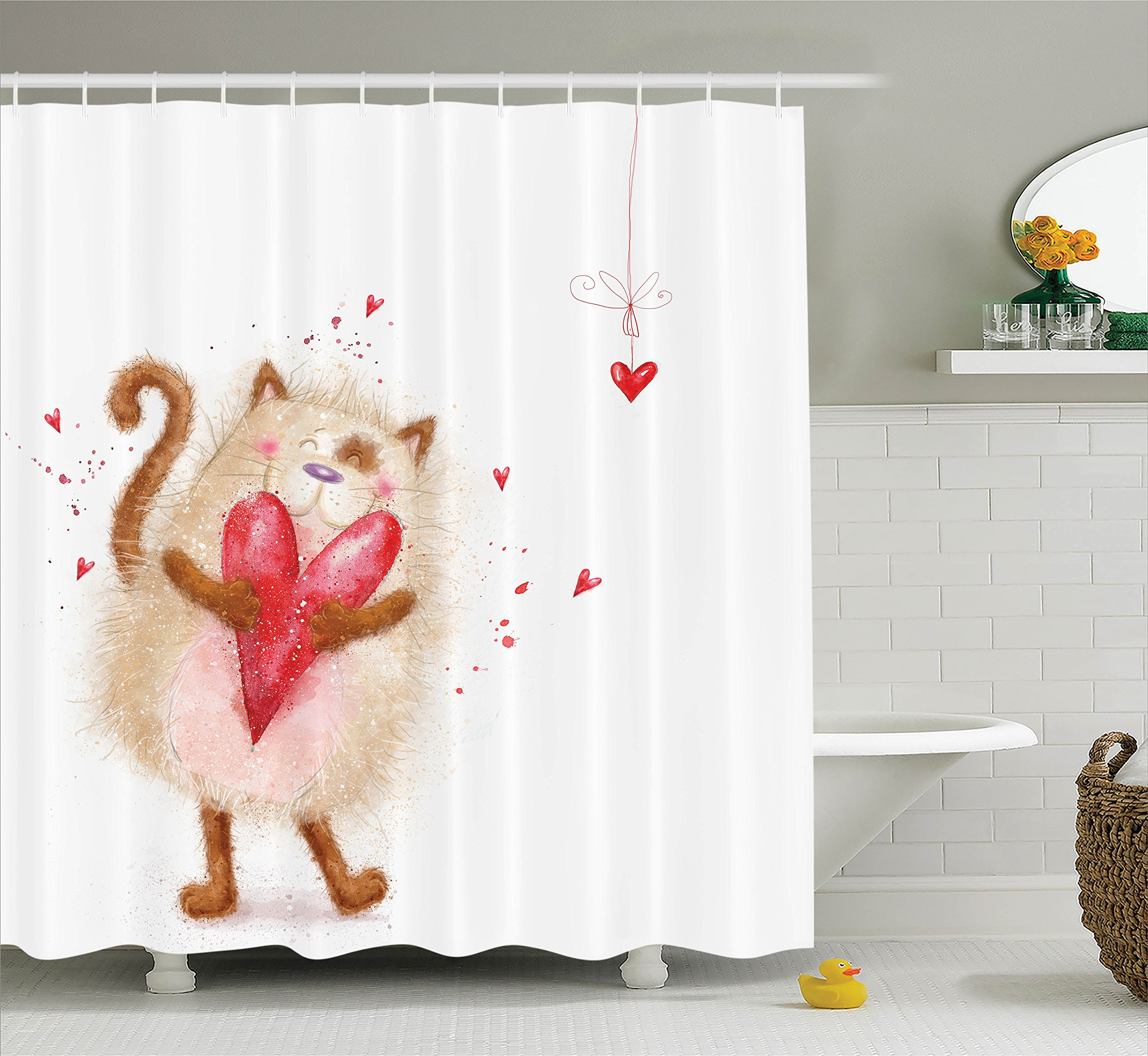 Ambesonne Love Decor Collection, Love Cute Cat with Heart in Love Valentines Honeymoon Smile Joyful Cheering Design, Polyester Fabric Bathroom Shower Curtain Set with Hooks, Brown Red White
