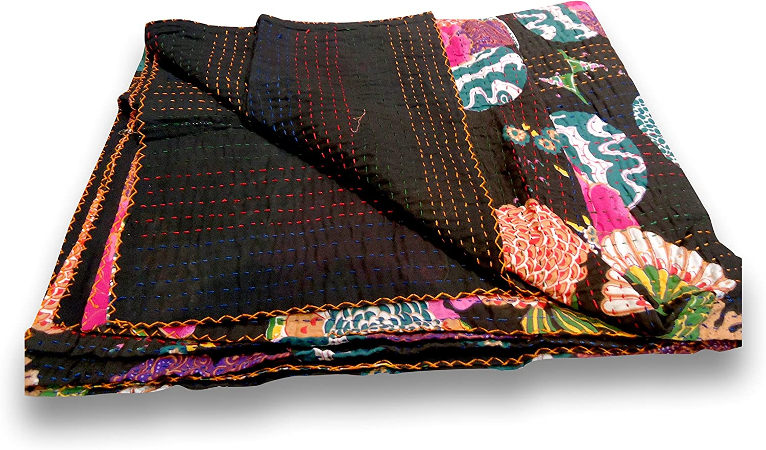 Sophia-Art Twin/King Indian Fruit Reversible Bedspread Pattern Gudri Pure Cotton Kantha Style Quilt Floral Fruit Print Decorative Kantha Stitch Quilt (Black, King 90108 Inches)