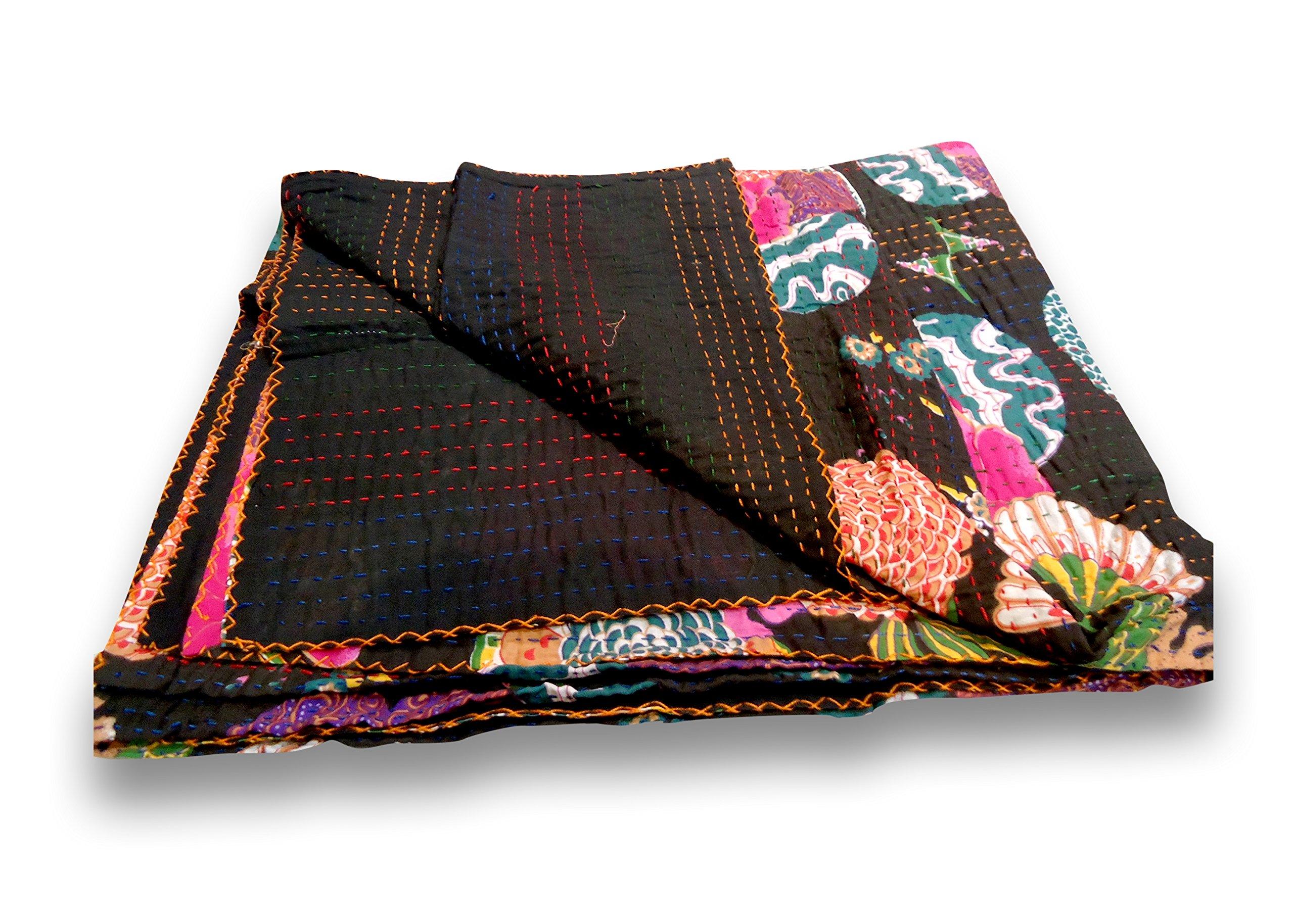 Sophia Art Indian Fruit Reversible Bedspread Pattern Blue Gudri Pure Cotton Kantha Style Queen Size Quilt Bed Spread Floral & Fruit Print Decorative Kantha Stitch Quilt 90X108 NCH. (Black)