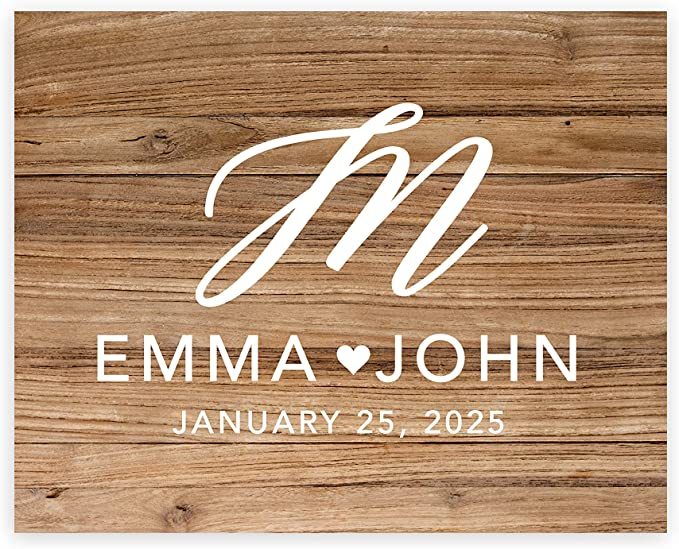 Andaz Press Custom Large Wedding Canvas Guestbook Alternative 16 X 20 Inches Rustic Wood Script Monogram Horizontal Personalized Sign Our Canvas Welcome Sign For Fall Rustic Woodland Theme Posters Prints Amazon Com