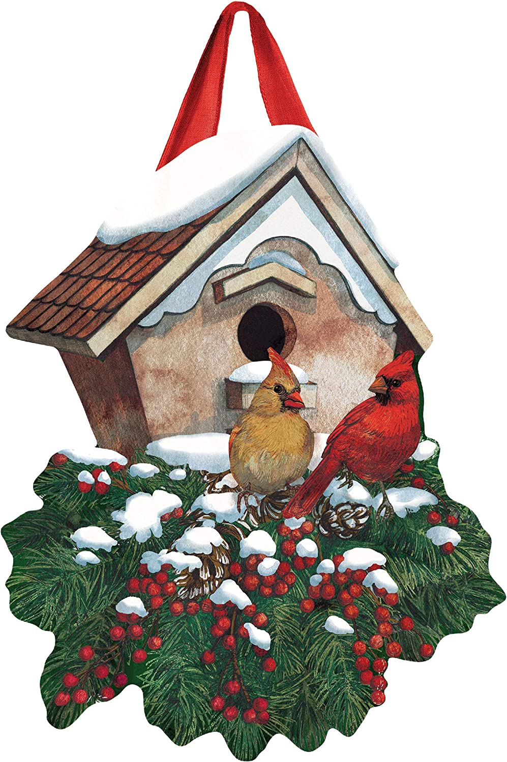 Studio M Winter Home Cardinals Winter Door Décor Decorative Front Door Sign with Colorful Ribbon Hanger, Durable Fade Resistant PVC, Made in The USA, 16 x 20 Inches