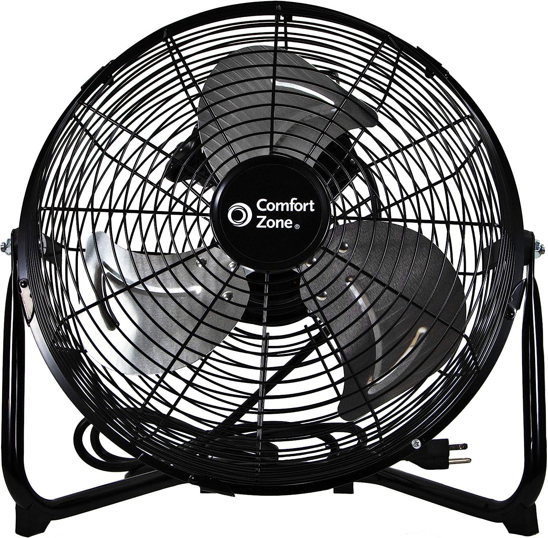 Comfort Zone CZHV12B 12-inch High-Velocity 3-Speed Floor Fan with 180-Degree Tilt