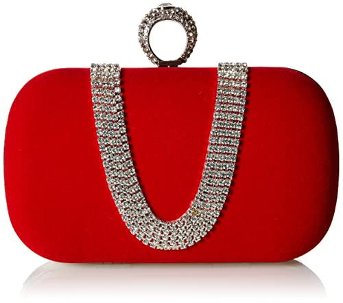 Chicastic Wine Red Suede Rhinestone Studded One Ring Knuckle Duster Style Minaudiere Evening Cocktail Clutch Bag
