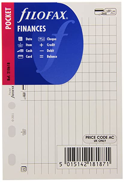 Filofax Pocket Finances - Recambio para agenda de anillas, registro de gastos e ingresos