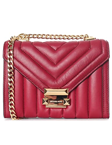 87ba4c3ceeee Michael Kors Small Whitney Quilted Maroon Leather Shoulder Bag Burgundy  Leather  Amazon.co.uk  Shoes   Bags
