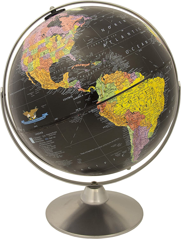 Replogle Starlight, Black Ocean World Globe, Desktop Piece, Gyro-matic meridian, Silver base, Detailed Cartography