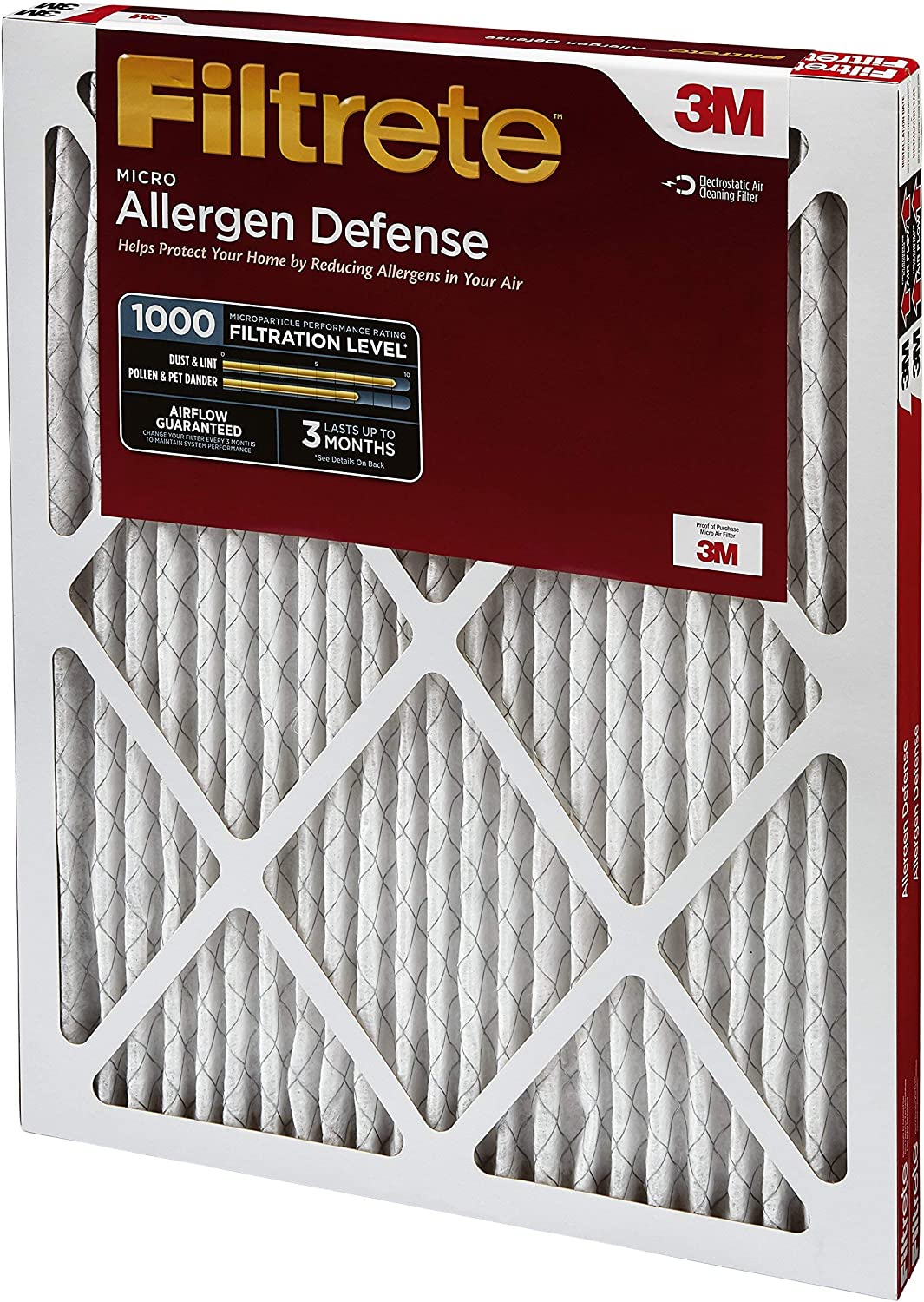Filtrete 14x20x1 AC Furnace Air Filter Micro Allergen Defence Renewed 2-Pack MPR 1000