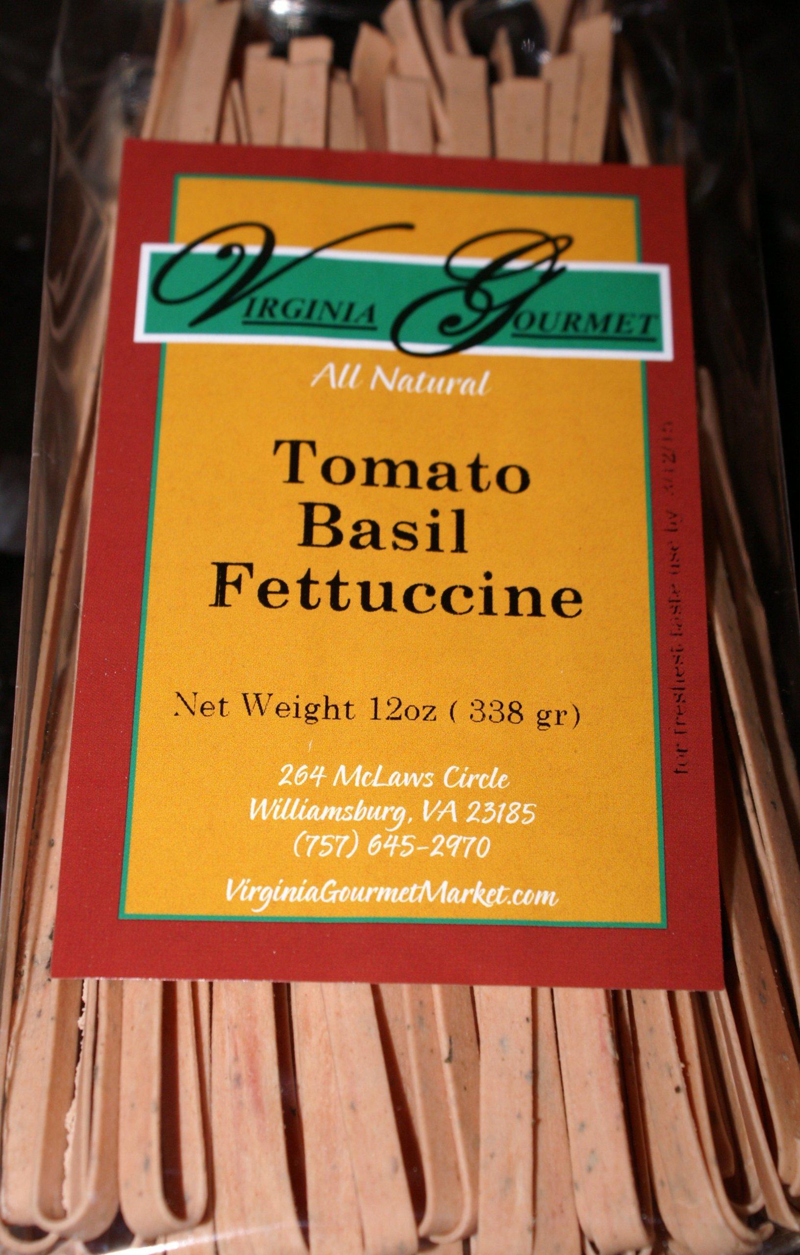 Virginia Gourmet Tomato Basil Fettuccine Pasta- All Natural Vegan - 6 Pack (Each Pack Serves 6)