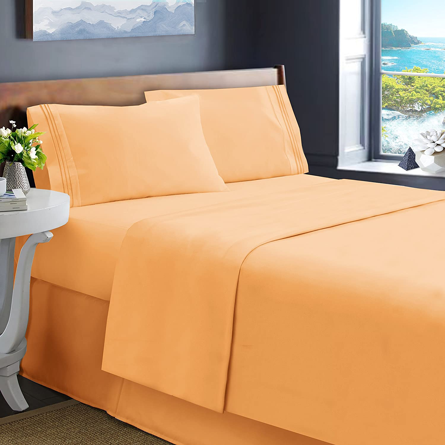 Hearth & Harbor King Size Bed Sheets, Apricot Orange - Soft Luxury Best Quality 4-Piece Bed Set