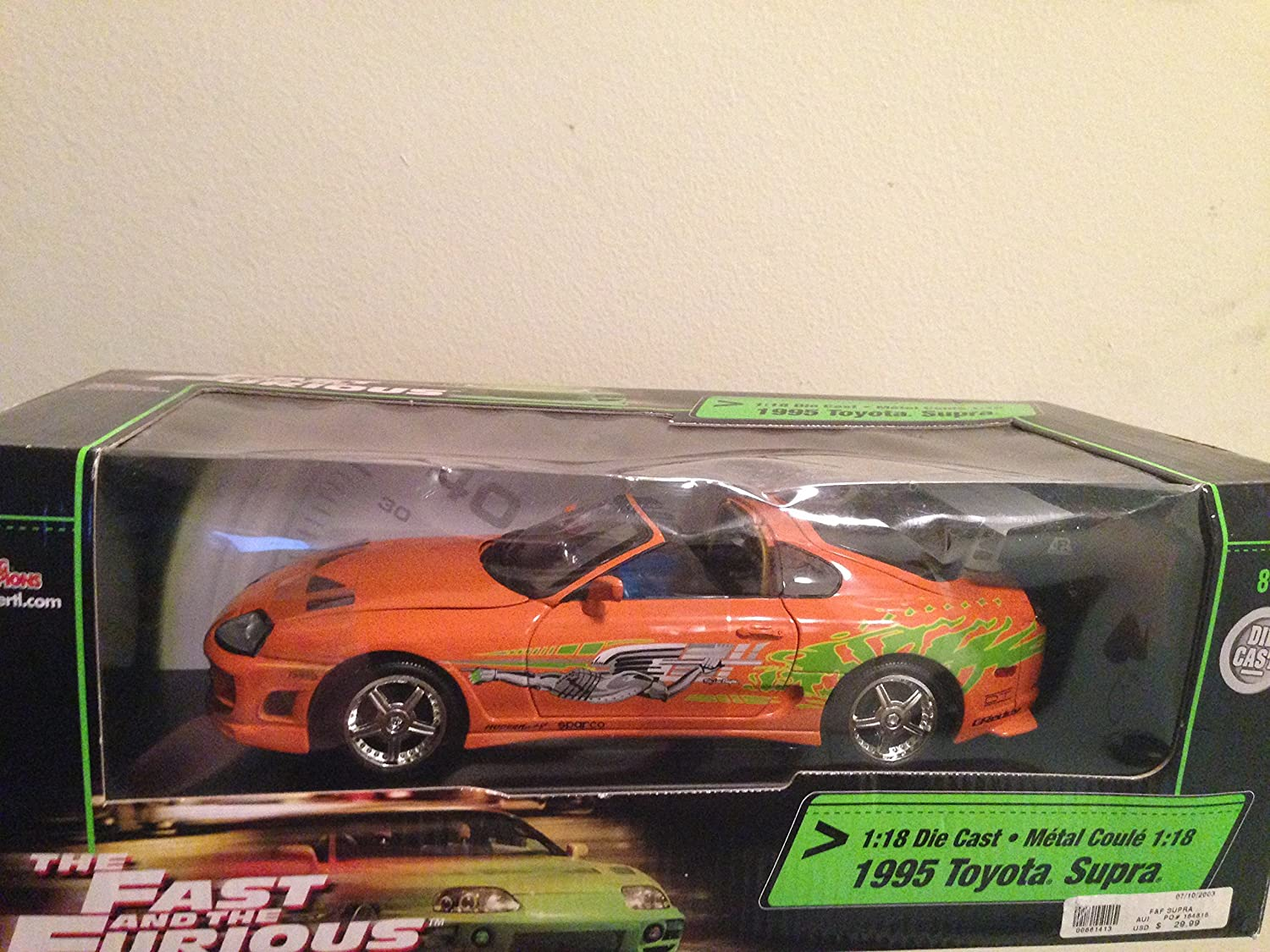 1995 Toyota Supra diecast model car The Fast and the Furious 1:18 die cast by Ertl Orange