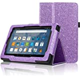 ACdream All-New Fire 7 Tablet (7th Generation, 2017 Release Only) Case, Premium PU Folio Leather Tablet Case for Fire 7 tablet with Auto Wake Sleep Feature, (Star of Paris, Purple)