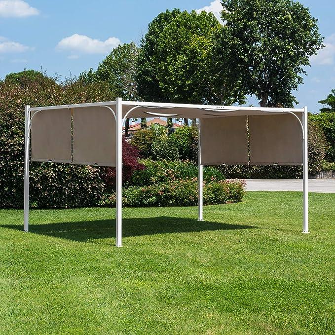 Bizzotto Cenador para Exterior de Acero, Color Blanco, Tela de poliéster, Color Pardo, 3 x 3 m: Amazon.es: Jardín