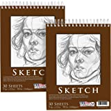 "U.S. Art Supply 9"" x 12"" Premium Heavy-Weight Paper Spiral Bound Sketch Pad, 90 Pound (160gsm), Pad of 30-Sheets (Pack of 2 Pads)"