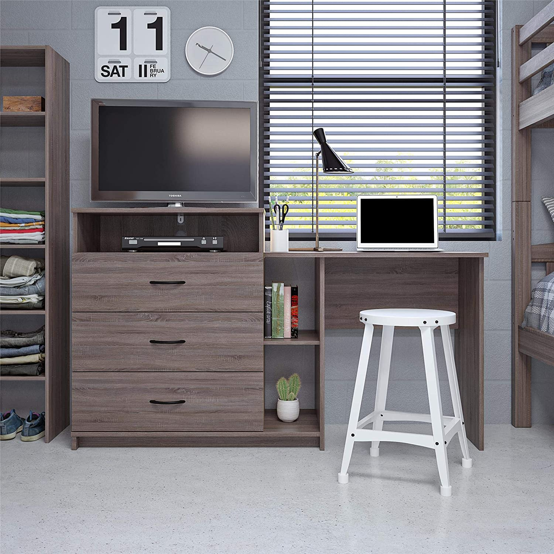 Ameriwood Home Rebel 3 in 1 Media Desk Combo, Distressed Gray Oak Dresser