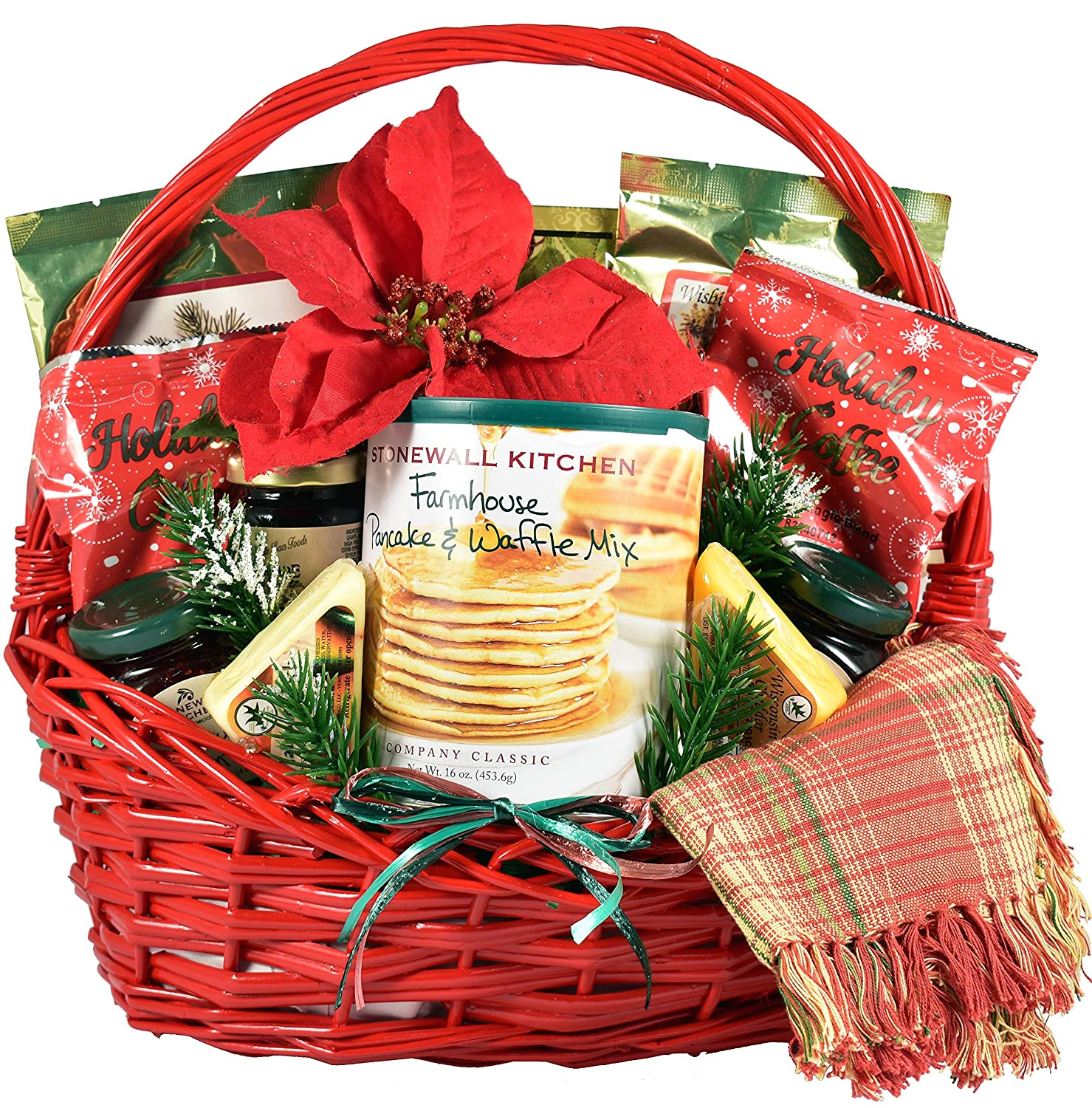 Gift Basket Village Country Christmas Breakfast Basket - A Classic Morning Breakfast Kit Filled With Mouth Watering Flavors For Family or Friends (Large), 11 pound