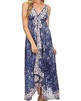 Sakkas Neyva Long Handkerchief Hem Embroidered Dyed Spaghetti Strap Batik Dress
