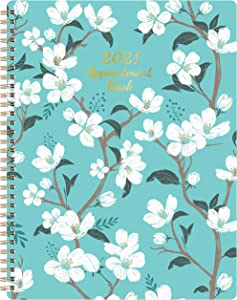 """2021 Weekly Appointment Book - 2021 Daily Hourly Planner, 8"""" x 10"""", Jan. - Dec. 2021, Weekly Appointment Book with 30-Minute Interval + Thick Paper + Round Corner + Twin-Wire Binding - Teal Floral"""