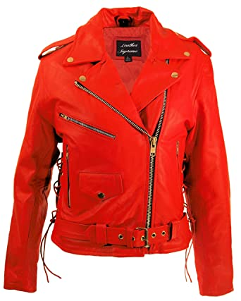 Amazon.com: Leather Supreme Womens Red Top Grain Cowhide ...
