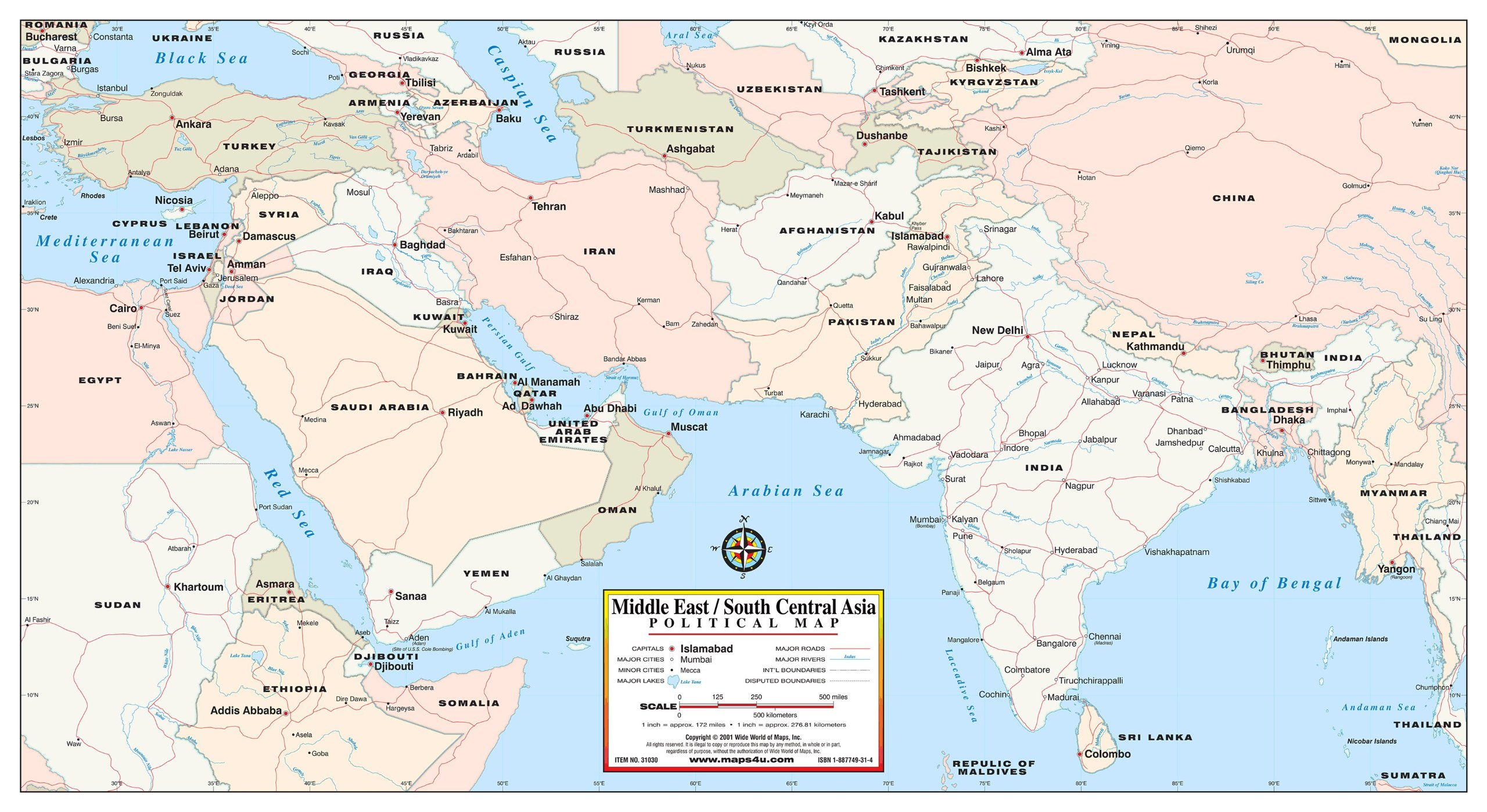 Middle East / South Central Asia Political Map: Phoenix Mapping ...