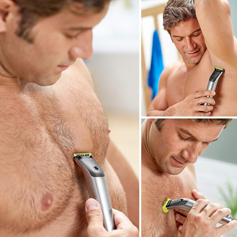 Philips QP6620/30 OneBlade Pro Cara y Cuerpo - Recortador de Barba Recargable con Peine-Guía para el Cuerpo, Peine de Precisión de 14 Longitudes, Base de Carga y ...