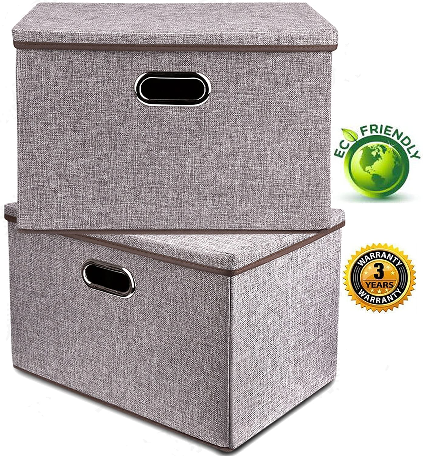 Large Linen Fabric Foldable Storage Container [2-Pack] with Removable Lid and Handles,Storage bin box cubes Organizer - Gray For Home, Office, Nursery, Closet, Bedroom, Living Room