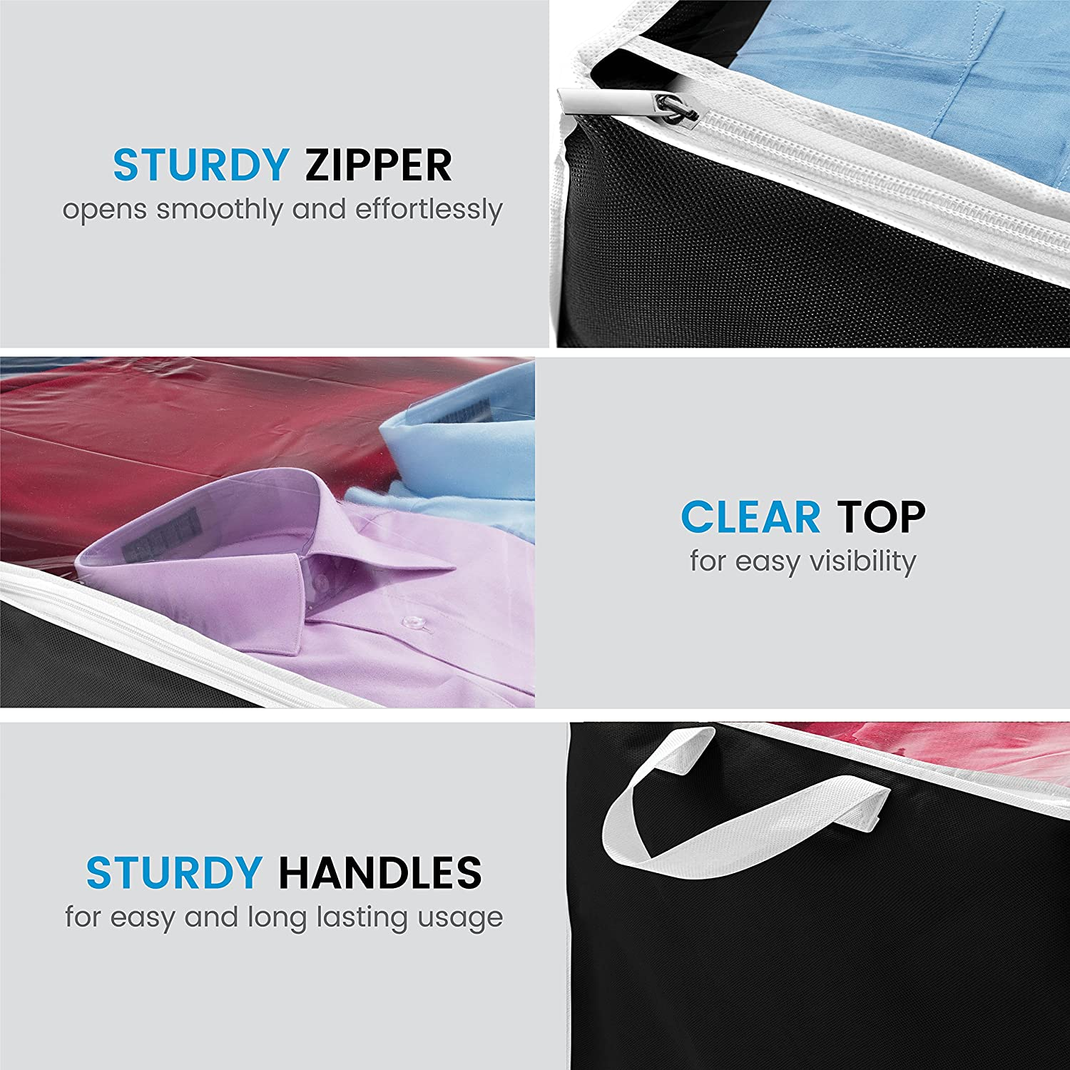 Pack of 2 Black Shoes Breathable Polypropylene Storage Bags for Blankets Clothes and Linens 18 x 42 x 6 inches Zober Flexible Zippered Underbed Storage Bag