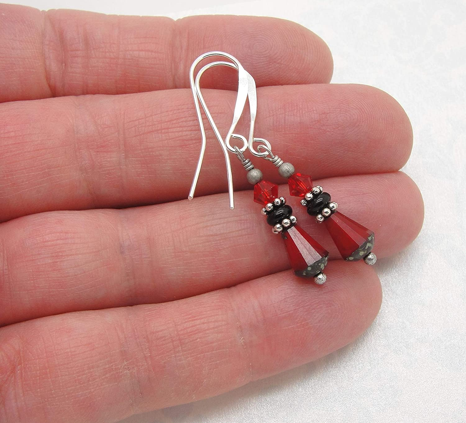 Small Red and Black Teardrop Earrings in Silver-Tone