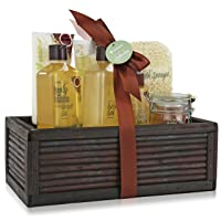 Pinkleaf Green Tea Argan Oil Bamboo Spa Bath Gift Set, Spa Basket