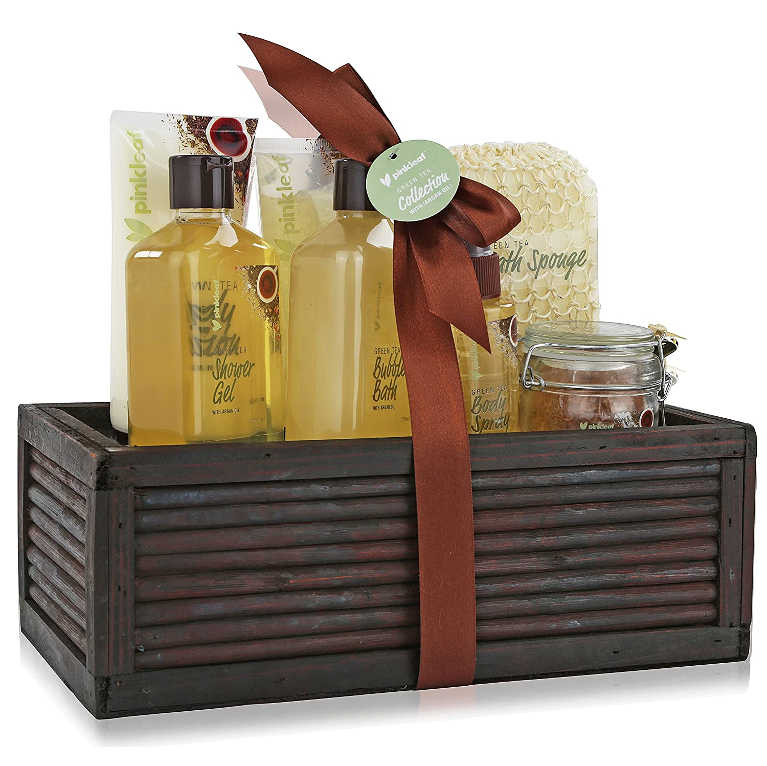 Pinkleaf Green Tea Argan Oil Bamboo Spa Bath Gift Set, Spa Basket, PL-5274